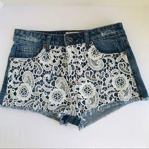 Forever 21 Premium Denim Shorts Distressed Crochet